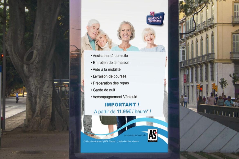 création affiche services à la personne graphisme graphiste affiche pub publicité panneau publicitaire à antibes cannes nice monaco
